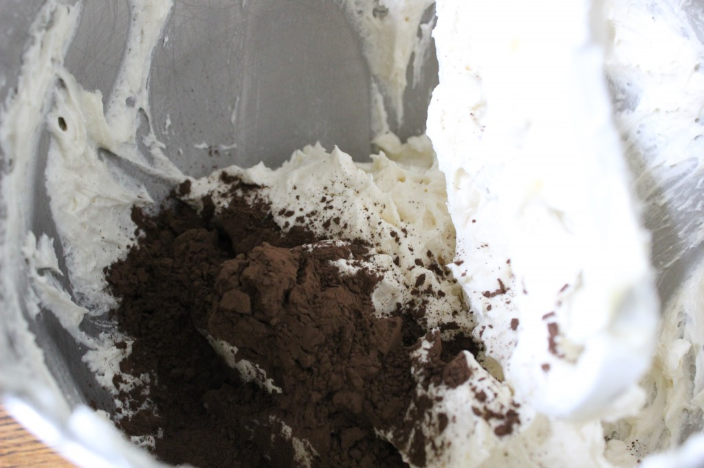 Adding Cocoa Powder to the Frosting