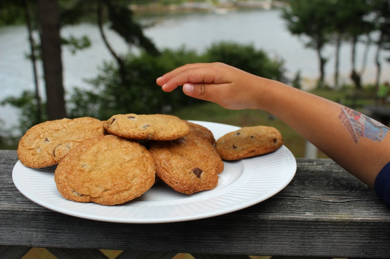 Little hand grabs the brown butter chocolate chip cookie