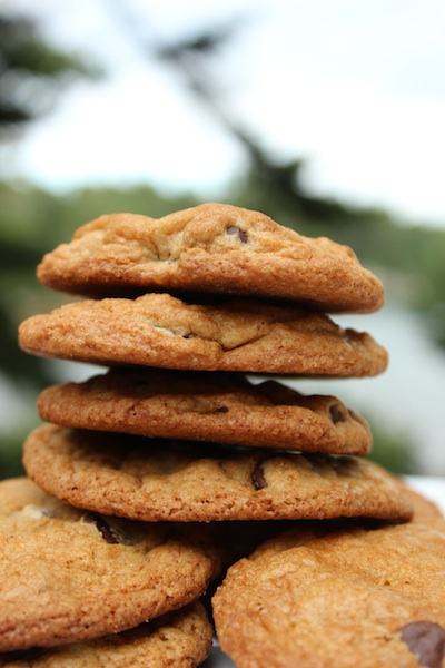 A tower of brown butter chocolate chip cookies