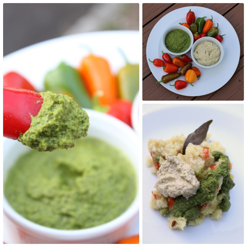MInt and Coconut Chutneys in a collage with colorful peppers and Rava Kichadi|tastyoasis.net