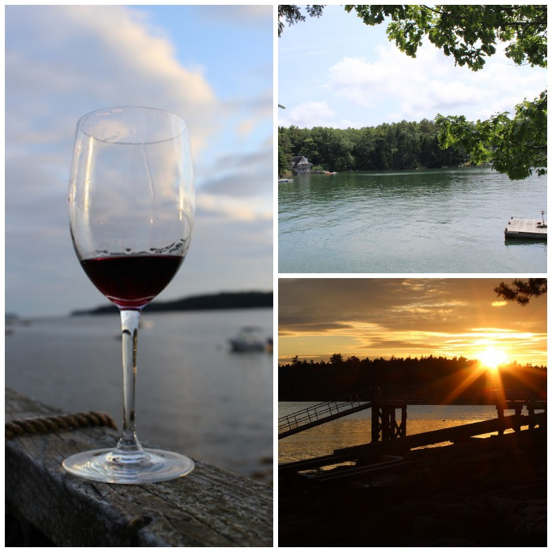 A glass of wine at sunset in Maine, with a view of the water from our vacation cottage