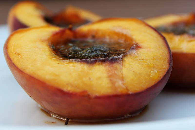 The sweet butter and cinnamon sugar combination melts all over the peach hot from the toaster oven