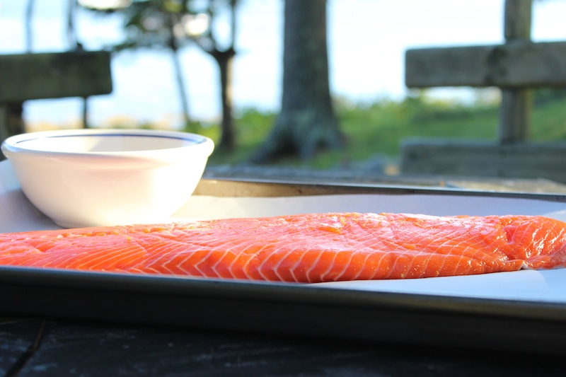 Wild Alaskan Salmon waiting to be crusted with spices