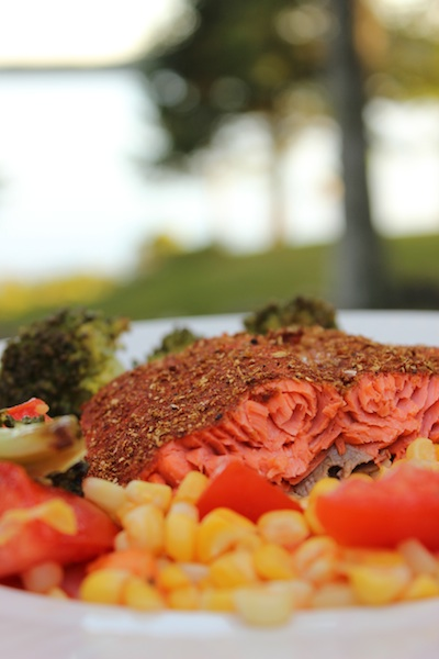 This Spice-Crusted Roasted Wild Salmon is fast and easy to prepare, combining cumin, coriander, smoked paprika and cinnamon to give this dish flavor in every bite. Beautiful to look at, healthy and delicious, it's perfect for a weeknight meal or serving to company, and can be made in just 30 minutes. | www.tastyoasis.net