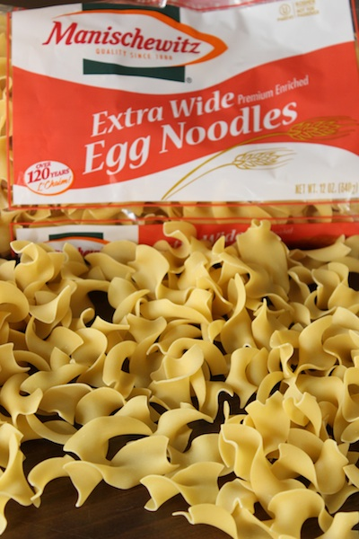 Egg Noodles for Noodle Kugel with Cinnamon and Raisins| www.tastyoasis.net