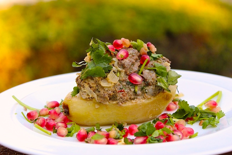 Lamb Stuffed Pear with Pomegranate and Cilantro for How to Start a Cooking Club| www.tastyoasis.net