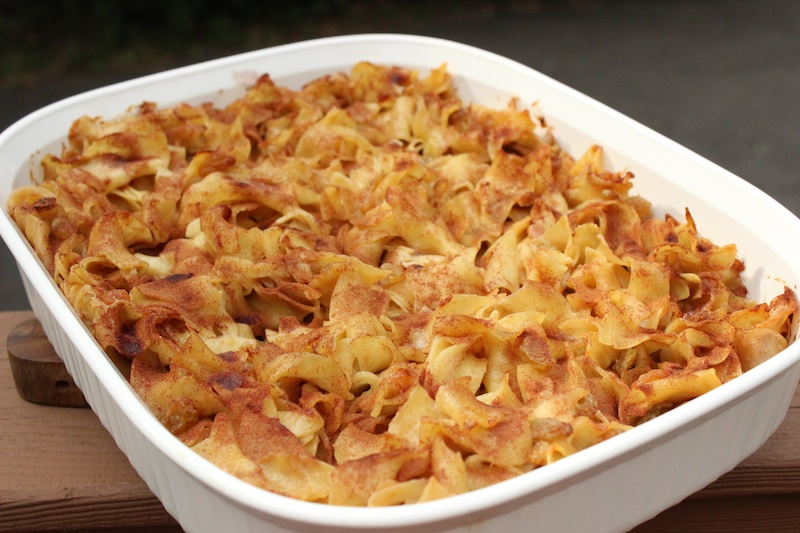 Noodle Kugel with Cinnamon an Raisins|www.tastyoasis.net