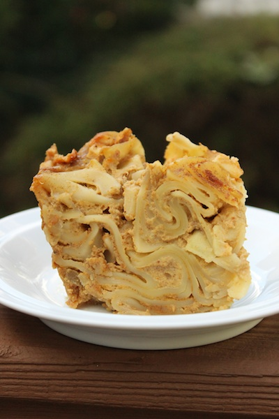 A Slice of Pumpkin Apple Noodle Kugel is a taste of fall that is perfect for breakfast or dessert| www.tastyoasis.net