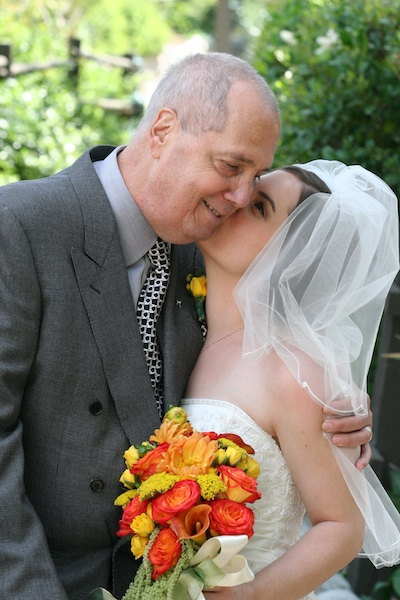 A kiss for my dad on my wedding day, May 29, 2005