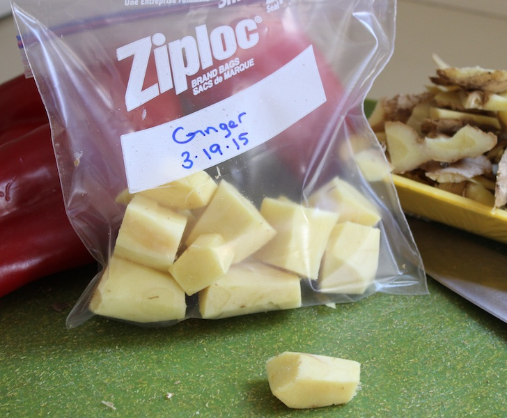 Quick Tip: Freeze your ginger! When you buy fresh ginger, peel all of it at once, chop it into varying sizes, and put the pieces into a Ziploc freezer bag or container and store it in the freezer for another time. Then throw it into your smoothies! www.tastyoasis.net