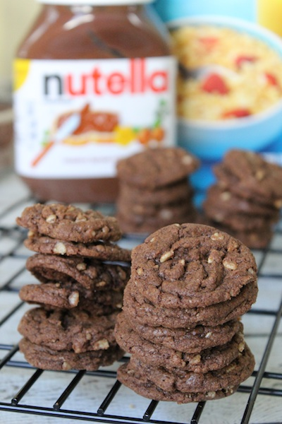 Brown Butter Nutella Crunch Cookies and Chocolatey Nutella Crunch Cookies are two versions of a decadent idea. They're both chewy with a surprise crackle that comes from the crispy rice cereal in every bite, but they have their own unique flavors. The Brown Butter Nutella Crunch Cookie is lighter and nuttier, while the Chocolatey Nutella Crunch Cookie is gooier and will remind you of eating Nutella straight from the spoon. Make them both, and decide which you like best.| www.tastyoasis.net