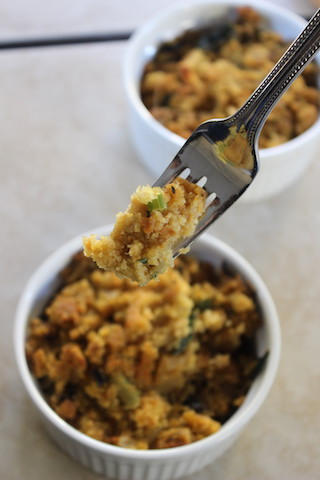 This Vegan Cornbread Stuffing with Chipotle, Swiss Chard and Sweet Potato is a perfect side for your Thanksgiving table. It will satisfy the vegans and the turkey eaters alike, as it balances sweetness with smokey spice, it's moist on the inside and crispy on the outside, and makes for great leftovers for days. And if you want to keep it simple, you can just make the cornbread all on its own! | www.tastyoasis.net