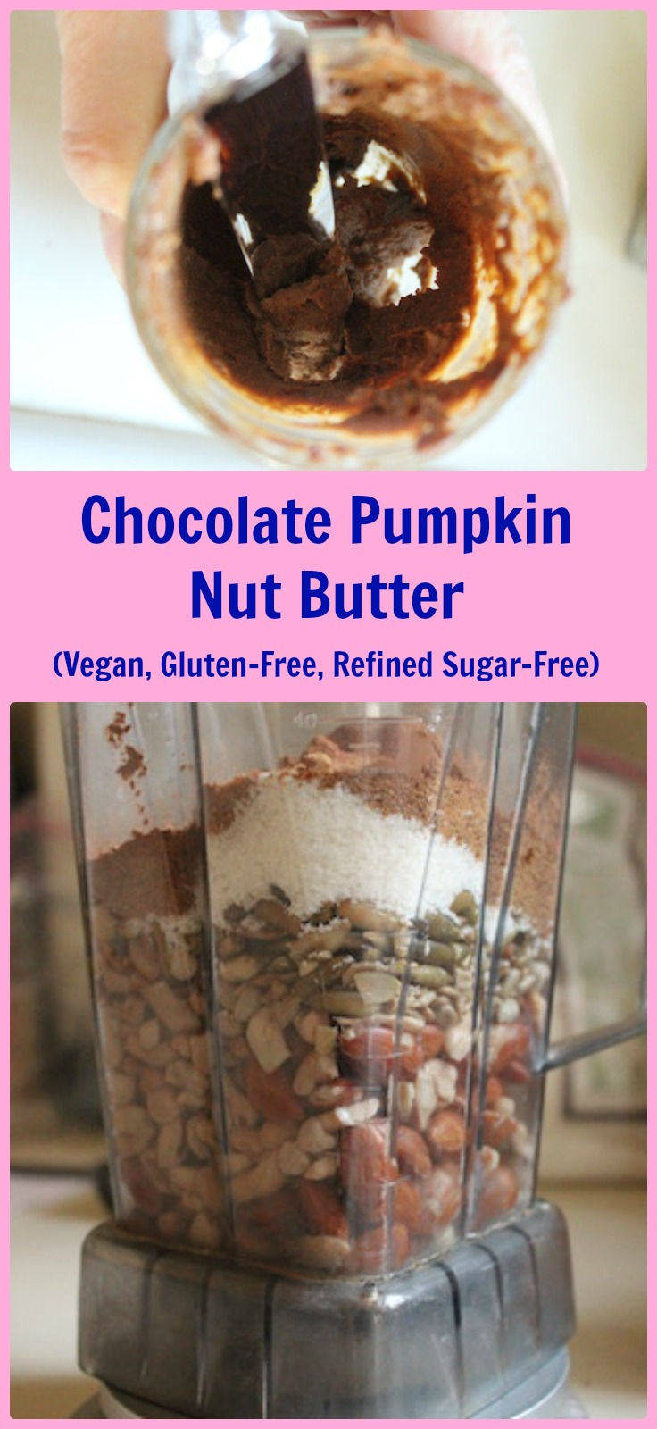 This Chocolate Pumpkin Nut Butter is a quick and healthy way to start your day. Soaking almonds and cashews overnight makes them easy to blend with your favorite seeds, coconut, cocoa and pumpkin, so you can feel good about eating this slightly sweetened boost of protein on your toast in the morning. Refined sugar-free, vegan and gluten-free, it's full of flavor and will even make a Nutella-craving kid happy. | www.tastyoasis.net