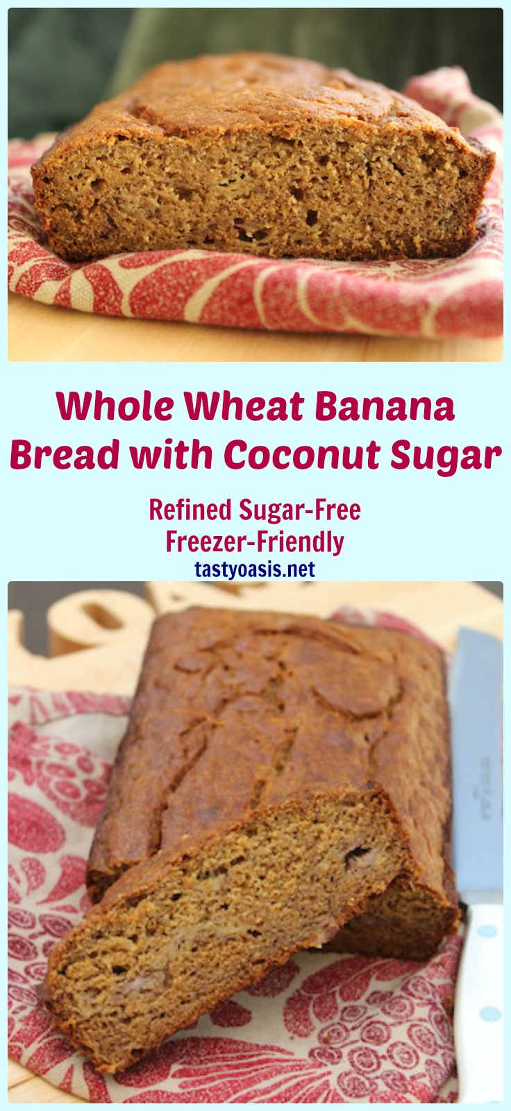 Whole Wheat Banana Bread with Coconut Sugar is a healthy treat, quick to put together, easy to make, refined sugar-free and freezer-friendly. It's as great for lunch boxes as it is for tea time.| www.tastyoasis.net